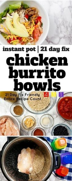 This 21 Day Fix Burrito Bowl recipe is prefect for meal prep day! Cook this Instant Pot Burrito Bowl recipe once and eat all week long! via @bludlum