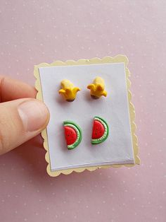 Watermelon and banana set earrings set created from polymer clay without using molds. The pack has 4 earrings. The lenght of each earring is 1 cm. ❀ Because i make everything by hand, the item you receive may differ slightly than shown on the pictures. ❀ Price is for one set of 4 earrings,