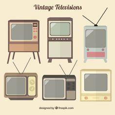 ヴィンテージのテレビのコレクション 無料ベクター