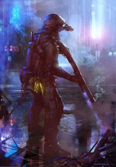 A somewhat Cyberpunk soldier...