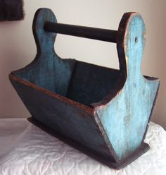 Early Small Wooden Tote PA Carrier The Best Blue Paint ...~♥~ ...