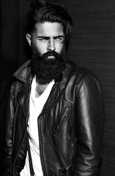 Chris John Millington - black beard and mustache beards bearded man men mens' style leather jacket winter handsome #beardsforever