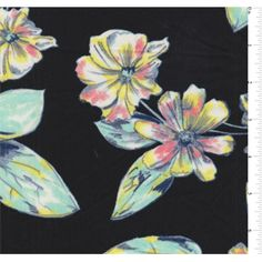 Black background with a floralprint in pastel shades of yellow, coral pink, mint…