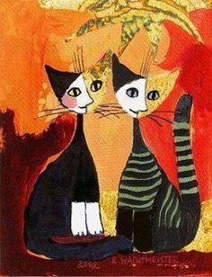 Rosina Wachtmeister: Together Katzen Leinwand-Bild 24x30 Wandbild in Möbel & Wohnen, Dekoration, Bilder & Drucke | eBay by marisa