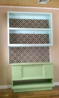 Cedar blanket chest,  wall bookshelf, and stencil wall art : )