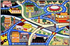 The Children's City Streets Design non-skid, rubber-backed area rug features children's education and novelty designs that are sure to uplift any space. This inviting area rug offers a durable construction for years of use, and a bright color palette. Modern Colors, Vivid Colors, Solar System Design, Playroom Rug, Playroom Ideas, Girls Rugs, Boy Girl Bedroom, 4x6 Rugs, Rugs Usa