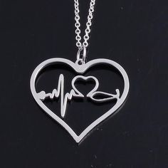 New Gorgeous Stethoscope Design! Nurses, doctors, and anyone in-or about to be in—the medical field will love this unique pendant. The larger heart contains a heartbeat and a small heart representing