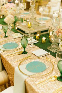 Sparkly gold! http://www.stylemepretty.com/california-weddings/la-jolla/2015/05/15/glamorous-la-jolla-ballroom-wedding/   Photography: B. Miller - http://www.bmillerweddings.net/