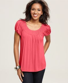 Cap Sleeve Solid Pleated Collar- Coral