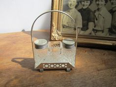 Vintage cut glass and silver tone Salt Pepper and toothpick holder in caddy. Table decor by ontherebound on Etsy