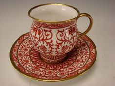 Antique Minton English Hand Painted Porcelain China Cup and Saucer