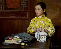 """Han Wu Shen - """"Brother's Lunch"""" - Oil on Canvas"""