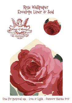 Wings of Whimsy: Rose Wallpaper Stationery #vintage #ephemera #freebie #printable #rose #wallpaper #stationery