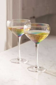 Coupe Cocktail Glass Made of Rainbow Glass Makes Your Drink Dazzle