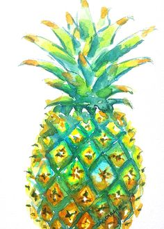 Pineapple -Window to the Tropics.  Original Watercolor painting by Carlin Blahnik. Original Watercolor Painting of a whole pineapple up close. Topped with green leaves tipped with yellow and gold. The pineapple sections show details of texture and colors of greens, yellows and golds. One section seems to hold the window to the tropics. The sweet, juicy fruit is also associated with Welcome and Welcoming.