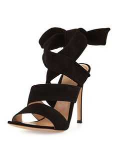 "Gianvito Rossi suede sandal. 4.3"" covered heel. Open toe. Crisscross vamp. Self-tie ankle wrap. Smooth outsole. Made in Italy."