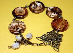 Large Agate Gemstone Bracelet Brown Marbled Flat by CaveGemstones, $35.00