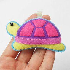 Felt turtle ornament, keychain, charm, key ring