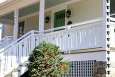 I want to add charm and character to my home. I found this tutorial on building flat sawn baluster railings. Looks super easy to do. Wood Porch Railings, Veranda Railing, Porch Over Garage, Front Porches, Home Porch, Diy Deck, Beach Cottages, Home Remodeling, New Homes