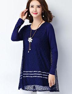 Mulheres Camiseta Tamanhos Grandes Simples Outono,Sólido Azul / Branco / Preto Poliéster Decote Redondo Manga Longa Média de 5265671 2016 por $18.99