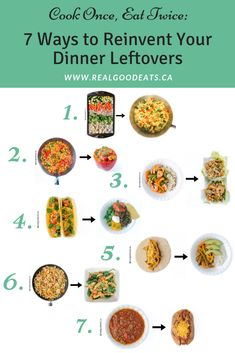 Reinvent your food leftovers and cut your weeknight cooking in half! Even if you don't love leftovers, repurposing them makes it feel like a new meal. Check out these 7 ways to reinvent common meal leftovers. Healthy Weeknight Meals, Easy Healthy Dinners, Quick Easy Meals, Easy Pasta Recipes, Vegetarian Recipes Easy, Dinner Recipes, Recipe Using Cauliflower, Grilled Pesto Chicken, Nut Free Snacks