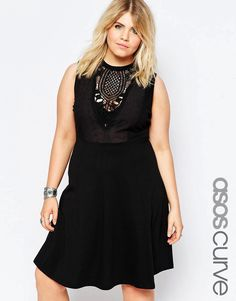 Image 1 of ASOS CURVE Empire Skater Dress with Lace Bib