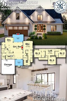 Plan Exclusive Modern Farmhouse Plan Offering Convenient Living Architectural Designs Exclusive Home Plan gives you 4 bedrooms, 4 baths and sq. Ready when you are! Two Story House Plans, New House Plans, Dream House Plans, House Floor Plans, 3 Bedroom Home Floor Plans, Dream Houses, Style At Home, Plan Chalet, Modern Farmhouse Plans