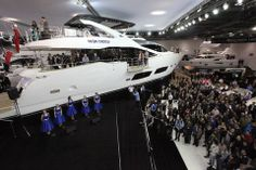 Sunseeker 28m Yacht in the London Boat Show 2014