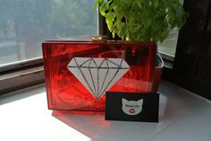 Handmade Small Red Clear Diamond Pop Art, Plastic, acrylic perspex transparent box clutch, evening bag, shoulder bag by HumanCat on Etsy