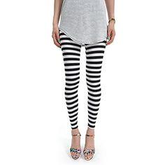 (NOL050-BLACK) Footless Stripe Pattern Stretchy Leggings
