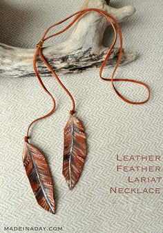 DIY Necklace Ideas - Leather Feather Lariat Necklace - Pendant, Beads, Statement, Choker, Layered Boho, Chain and Simple Looks - Creative Jewlery Making Ideas for Women and Teens, Girls - Crafts and Cool Fashion Ideas for Teenagers http://diyprojectsforteens.com/diy-necklaces