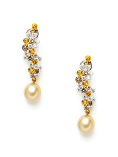 Multicolor Diamond Cluster & Golden Pearl Drop Earrings by Tara Pearls at Gilt
