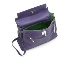 A SPECIAL ORDER BI-COLOUR ULTRA VIOLET AND VERT BENGALE VEAU SWIFT LEATHER KELLY BAG
