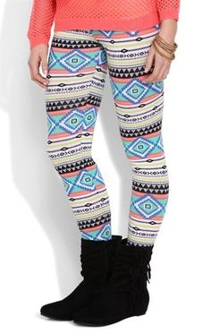 Neon Stripe Tribal Print Leggings