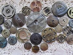 FANCY VINTAGE CARVED ETCHED WAFER CELLULOID BUTTONS