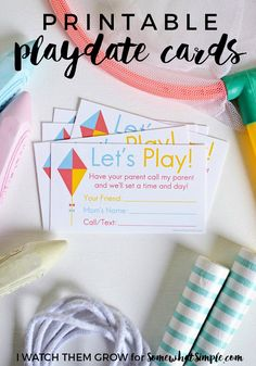 These will be perfect for setting up playdates over summer break!  Free Printable Playdate Invite Cards - Somewhat Simple