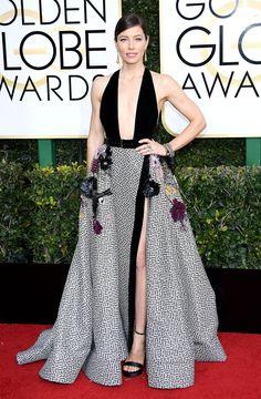 Jessica Biel Dress: Elie Saab Haute Couture Elie Saab Couture, Jessica Biel, Lily Collins, Blake Lively, Beverly Hills, Golden Globe Award, Golden Globes, Plunge Dress, Celebrity Red Carpet