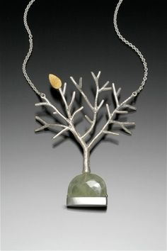 """Silver Tree Necklace with Prehnite  2007  sterling silver, prehnite  pendant: 3"""" x 2"""" x .5""""  18"""" chain  one-of-a-kind  private collection"""