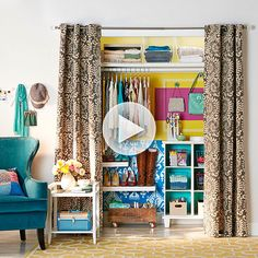 take out closet doors and put a curtain in its place... Amazing