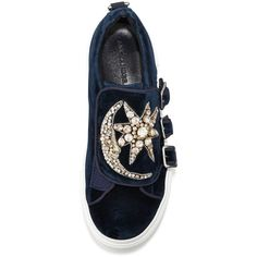 Alexander Mcqueen Triple-Monk Velvet Sneaker w/Jeweled Moon & Star ($940) ❤ liked on Polyvore featuring shoes, sneakers, alexander mcqueen sneakers, alexander mcqueen, platform trainers, star sneakers and platform sneakers