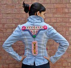 Vintage Kuchi Upgraded Afghan Ethnic Boho Medallions ATS Jeans Jacket (RedInMe)