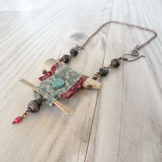 Nomadic Scroll Necklace Silk Wrapped Antler by GypsyIntent on Etsy, $72.00