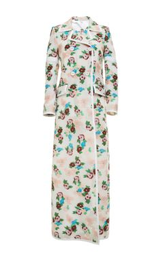5 Button Db Long Coat In Pink And Blue Floral Jacquards by Thom Browne - Moda Operandi