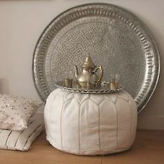 Tray-topped pouf - the perfect side table!
