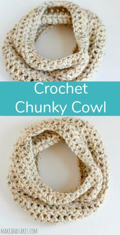 Crochet Scarf Here's our quick and easy one skein Chunky Crochet Cowl. It's an infinity scarf crocheted in the round, making it fun and easy to wear anytime, anywhere! Chunky Crochet Scarf, One Skein Crochet, Crochet Round, Chunky Yarn, Crochet Beanie, Crochet Scarves, Crochet Shawl, Easy Crochet, Irish Crochet