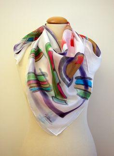 Zijden sjaal Hand geschilderd - Hand Painted vierkante zijden sjaal-vrouw sjaal 35x35in. (90x90cm)