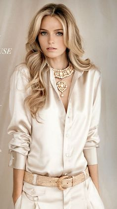 Beige satin blouse