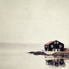 Isolated Black and Red House, Iceland, Landscape Photography, Rustic Cabin, Scandinavian, Minimal Home Decor, Simple - Ordinary Silence on Etsy, $30.00