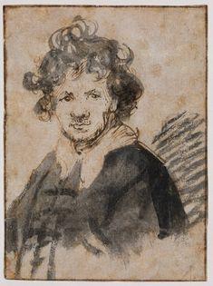"Rembrandt (1606-1669) Self Portrait Pen and ink on paper/Pen in br c1628-c1629 9.4 x 12.7 cm (3.7"" x 5"") Rijksmuseum (Amsterdam, Netherlands)"