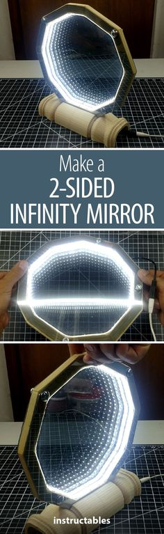 This infinity mirror is great for a desktop or shelf decoration. Infinity Spiegel, Infinity Mirror, Infinity Table, Infinity Rings, Infinity Wedding, Home Projects, Projects To Try, Desktop, Stuff To Do